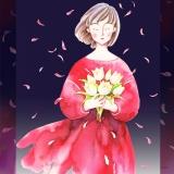 白いチューリップの花束
