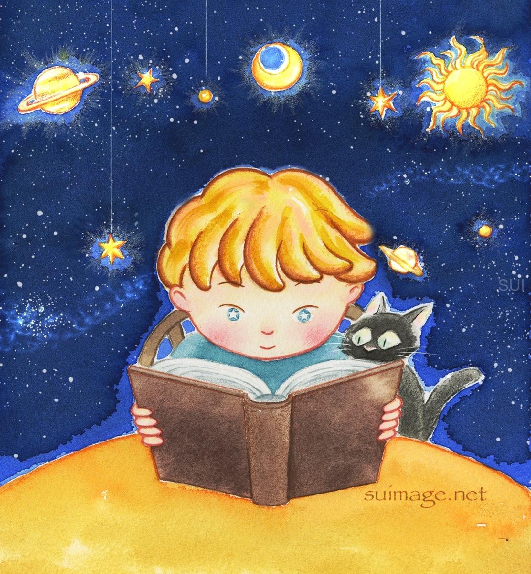 読書する少年と黒猫