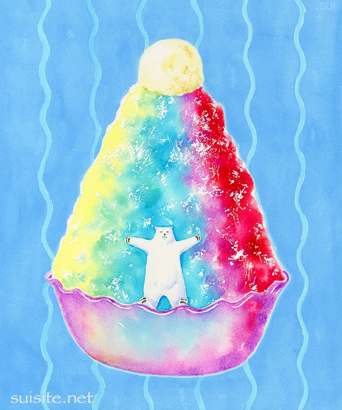 白クマと虹のかき氷 TheWhite bear & Rainbow shaved ice