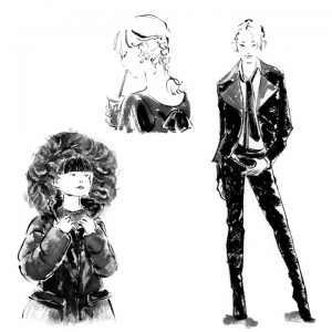 白黒ファッション画2