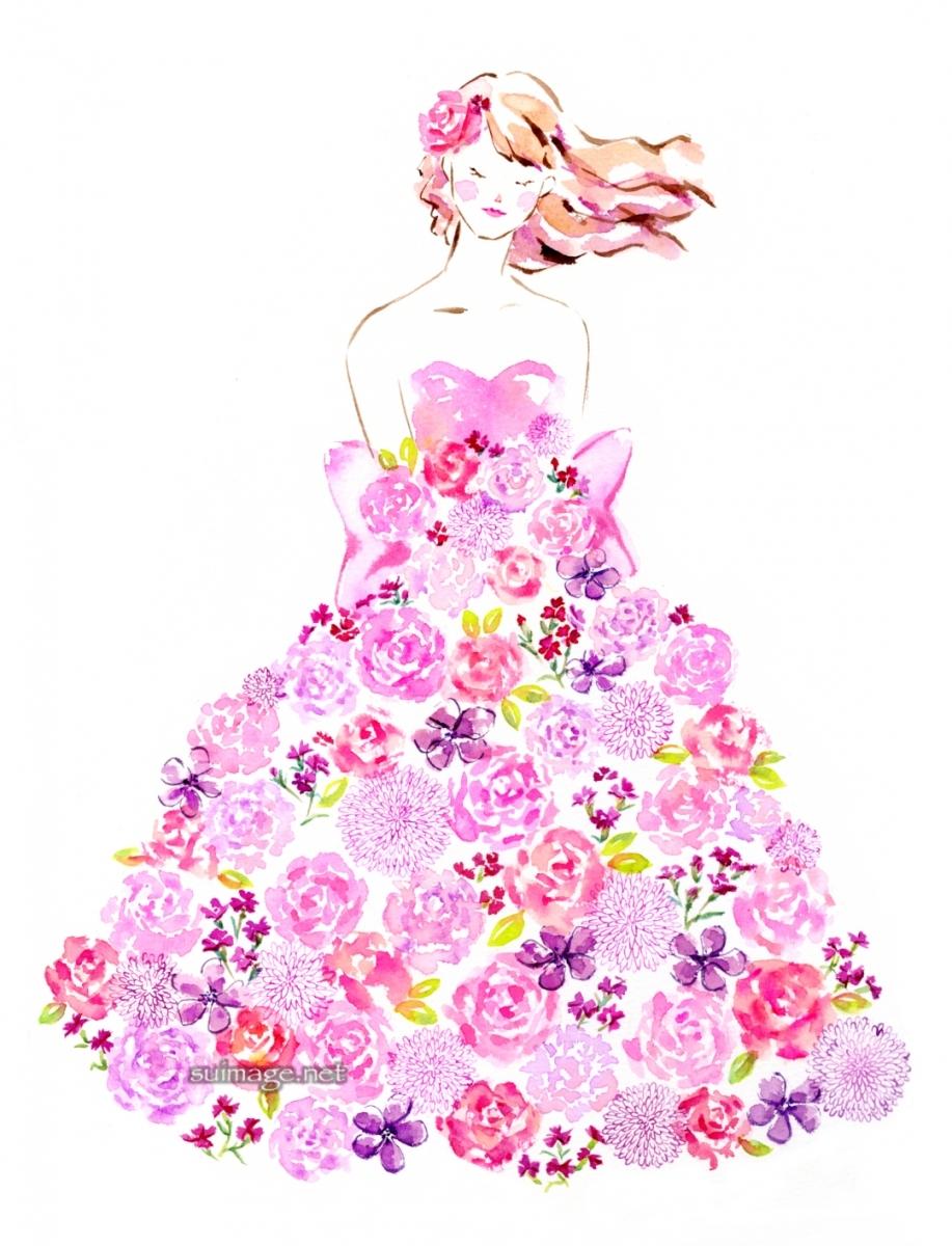 ピンクの花のドレス