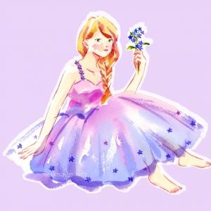 パープルカラーのドレス