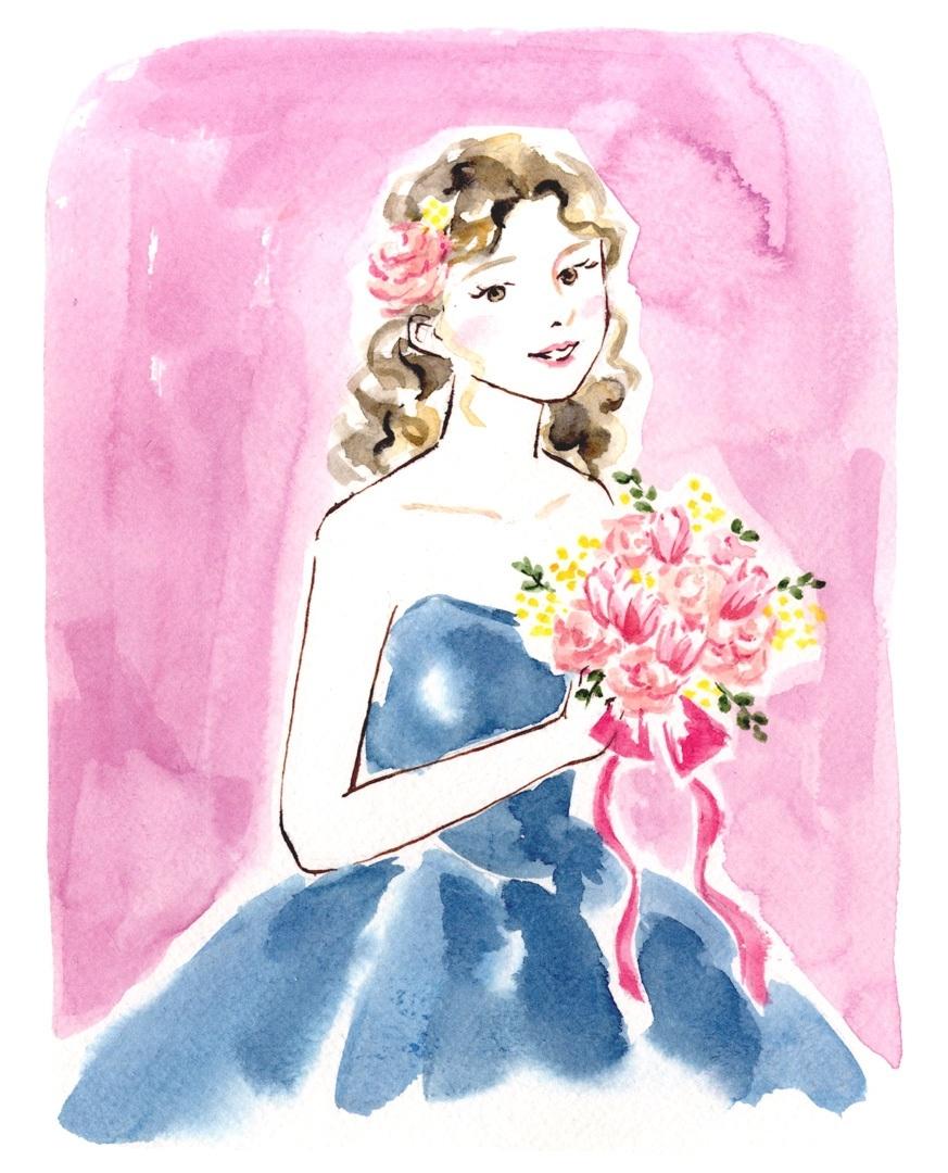 青いドレスの花嫁