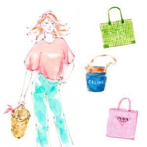 ファッションイラスト,バッグ,ジェーンバーキン,カゴバッグ,トリーバーチ,Tory Burch,PRADA,CELINE,Jane Birkin