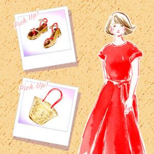 ファッションイラスト,カゴバッグ,サンダル,ワンピース,着こなし,fashionillustration