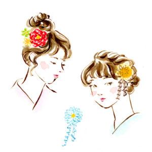 ヘアスタイル,ヘアアレンジ,和装小物,髪飾り,浴衣,花飾り,つまみ細工