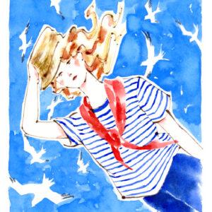 マリンスタイル,ボーダーシャツ,カモメ,フェドーラ帽,帽子,ファッションイラスト