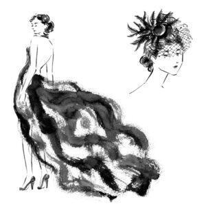 白黒,モノクロ,筆,オードリーヘップバーン,ファッションイラスト,