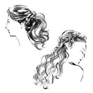 白黒,モノクロ,ヘアスタイル,ファッションイラスト,美容院,ヘアアレンジ,髪型