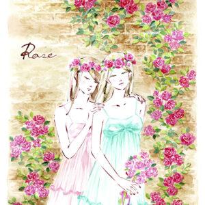 双子,バラ園,花輪,roses,twins,