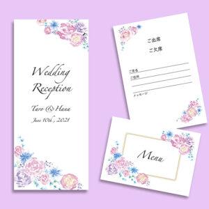 結婚式,席次表,メニュー,出欠ハガキ,wedding reception,menu